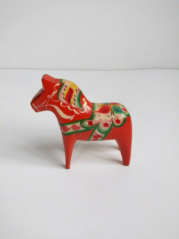 "Orange Swedish Dala Horse Akta Dalahemslojd Painted 4"" Nils Olsson Sweden"