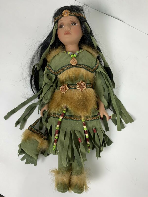 Native American Indian Porcelain Doll Handmade 6349