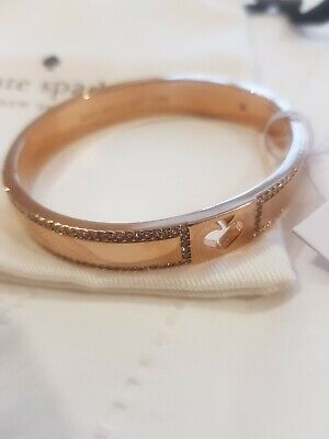 Kate Spade Clear Rose Gold Hole Punch Spade Bangle Bracelet New $79 Plus Tax