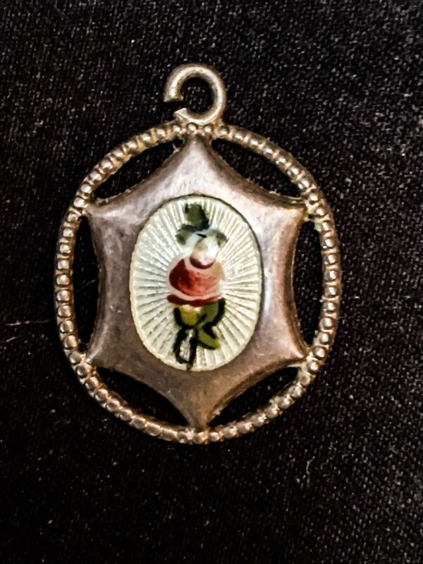 Antique Charles Horner Sterling Silver Charm Cuilloche Enamel