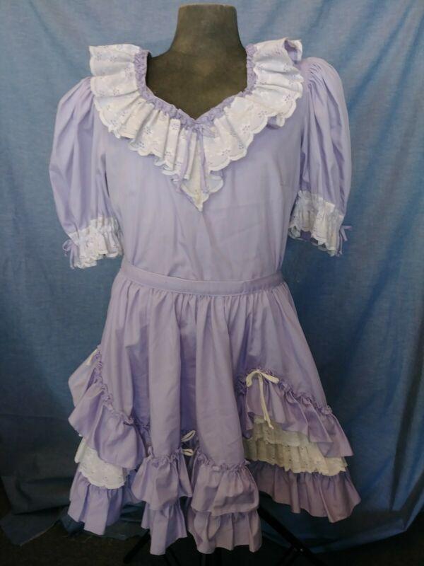 Lavender Purple Square Dance W:36 M Costume Dance 2 PC Skirt Shirt Top Womens