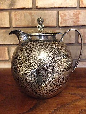 RARE ANTIQUE OLD T.R.P. BOGOTA COLUMBIA .900 COIN SILVER LIDDED PITCHER 18 OZ!