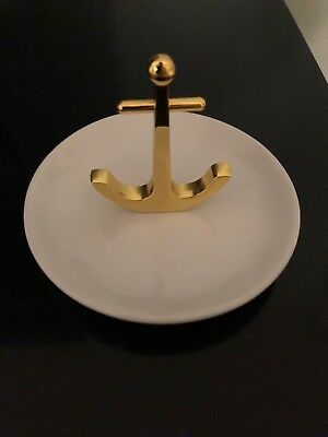 Authentic Mark and Graham Anchor Brass & Ceramic Jewelry Dish NWT