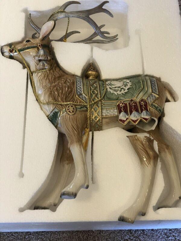 """Broken* NEW Fitz and Floyd Gregorian Large Deer Figurine  19"""" Hand Painted"""