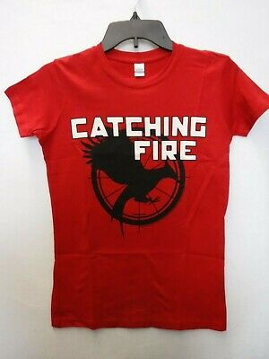 Hunger Games Woman (JUNIORS WOMENS HUNGER GAMES CATCHING FIRE RED GRAPHIC TSHIRT NEW)