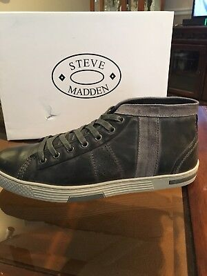 Mens Steve Madden Ignyte Grey Leather Shoe   Size 10  New In Box