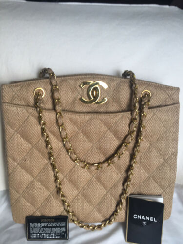 Authentic Vintage Beige Herringbone Chanel Shoulder Bag With Two Chain Straps