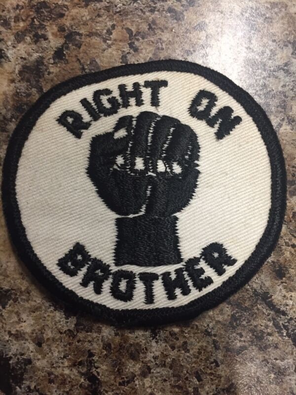 Vintage Original 70's Patch Civil Rights Black Panther, Right On Brother, MLK