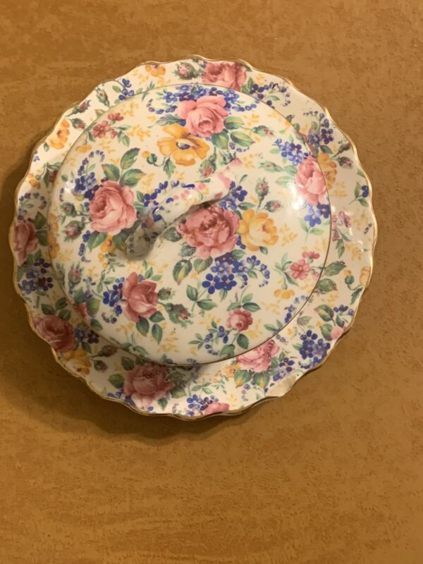 """Vintage James Kent ROSALYNDE CHINTZ  2 10"""" Plates Rare Round Covered Butter Dish"""