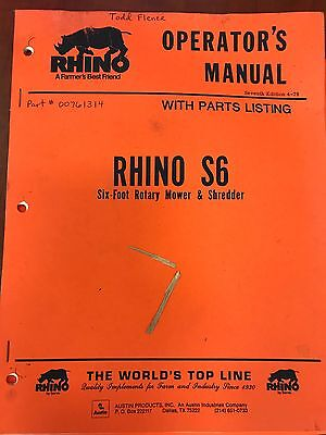Rhino Operators Manual S6 Size Foot Rotary Mower Shredder Used
