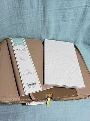 Day Designer Weekly Refillable Planner Notepad Leather 2020-21 9x6 Beige New