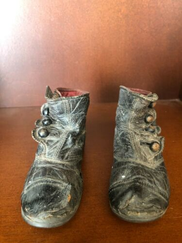Antique Vintage Victorian Childs Baby Black Leather Button Up Shoes Boots