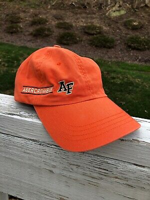 Vintage Abercrombie And Fitch Hat 1990's Orange Leather Strap Adjustable Buckle