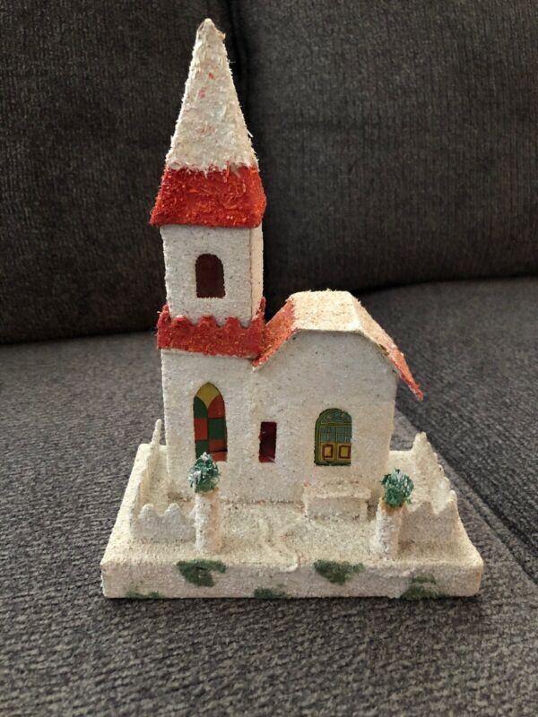 "Vintage Putz Christmas Village Cardboard Mica Glitter Church JAPAN 8"" Tall"