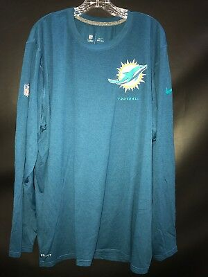 MIAMI DOLPHINS GAME USED BLUE ON FIELD DRI-FIT WORKOUT LONG SLEEVE SHIRT - 2XL