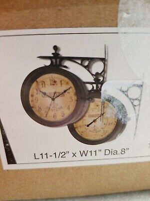 Wall Clock Double Sided Bracket Mounted 8 in. Indoor Outdoor Home Decor in Brown