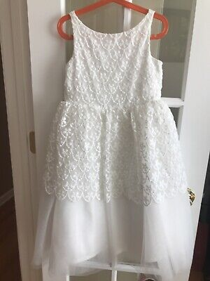 Janie and Jack Special Occasion Dress White Floral Lace With Tulle, Size 7 White Special Occasion Dress