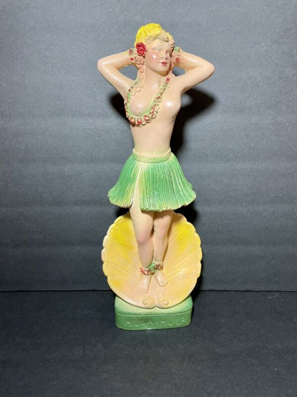Rare Hawaiian Hula Girl Chalkware Carnival Figurine
