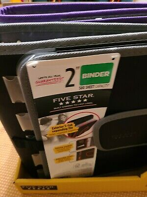 New Five Star Quick Tab Black Gray Zipper 3-ring Binder 2 580 Pages Capacity