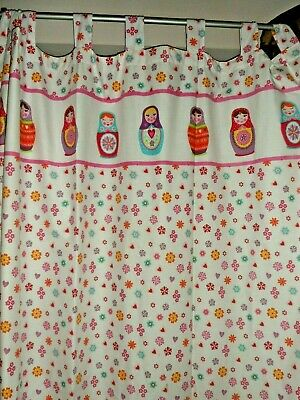 Used, GIRLS asda white RUSSIAN DOLL curtains 66 ACROSS 54 DROP - childs bedroom for sale  Shipping to South Africa