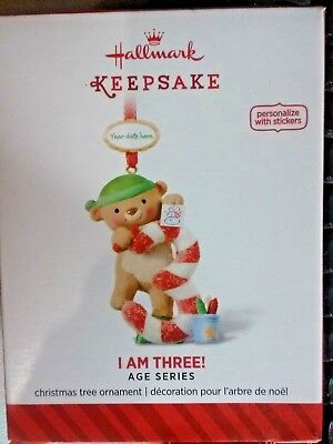 NIB 2014 HALLMARK CHRISTMAS ORNAMENT I AM THREE! AGE SERIES NEW BEAR (Christmas Age Bear)