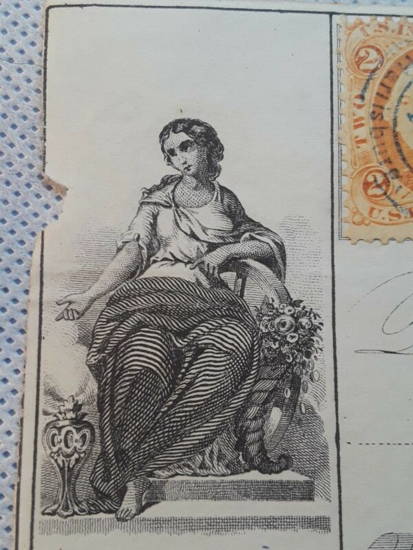 Antique Check First National Bank of Harrisburg Pennsylvania Revenue Stamp 1866