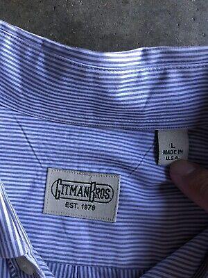 Vintage Gitman Bros. Striped Shirt sz Large White Gray Made in USA