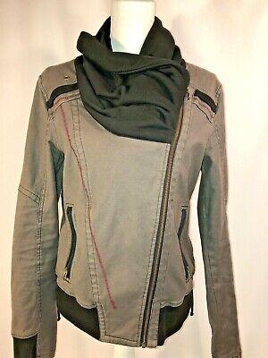 Lost & Found Jacket Side Zip Size Large Banded Bottom, Green/Black Lace up Sides Banded Zip Jacket