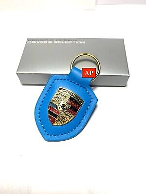 NEW IN BOX OEM PORSCHE CREST genuine GT3 Blue leather Keyring Key Chain KeyFob