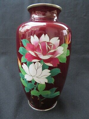 Vintage Japanese Cloisonne Pigeon Red Vase with Flowers 7.25