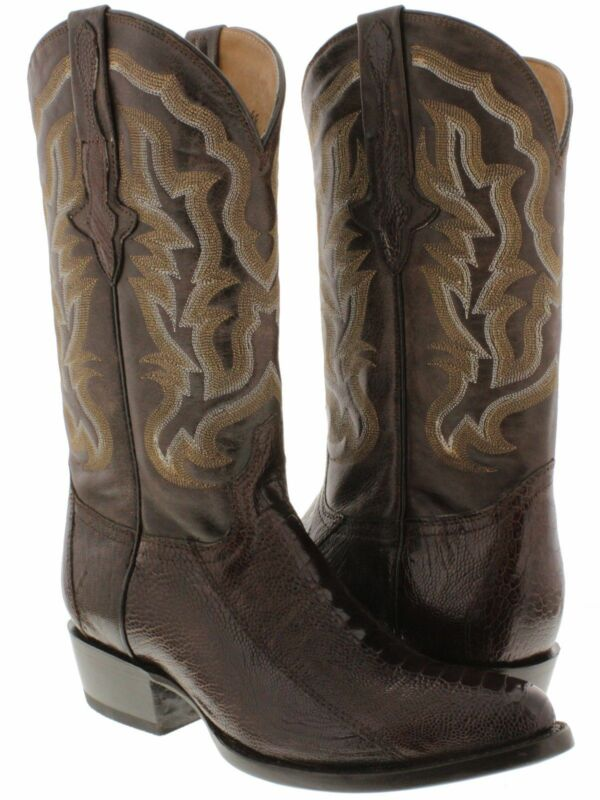 Mens, Genuine, Ostrich, Foot, Smooth, Skin, Dark, Brown, Leather, Cowboy, Boots, Western