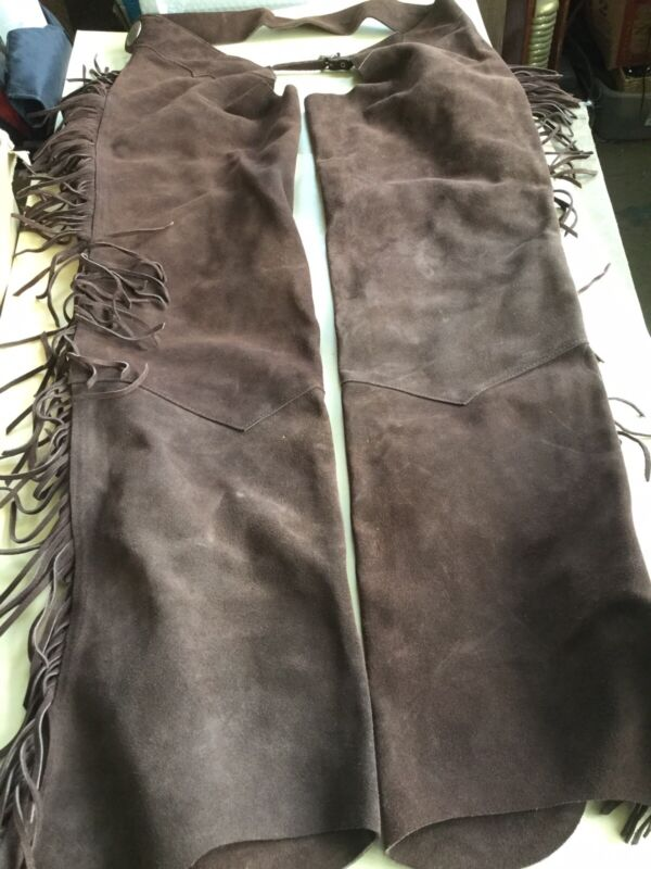 """Leather Chaps (suade) Zippered"""" Dark Brown Never Been Used! Fringe! USA. XL"""