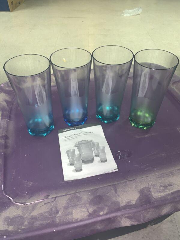 Tupperware Sheerly Elegant - Acrylic - 16 oz Tumblers NOS Blues Greens Rare Set