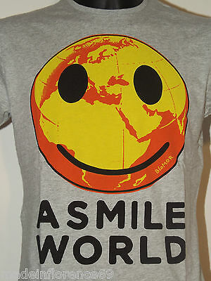 BLOMOR T SHIRT SMILE WORLD Tg L GRIGIO MAGLIETTA MANICA CORTA COTONE GRIGIO