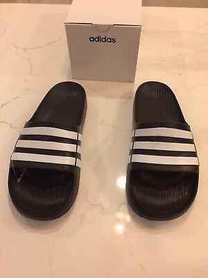 7c5109a60f67a4 ADIDAS Black White DURAMO SLIDES ATHLETIC SANDALS SPORT MENS 10 44.5 G15890  NEW