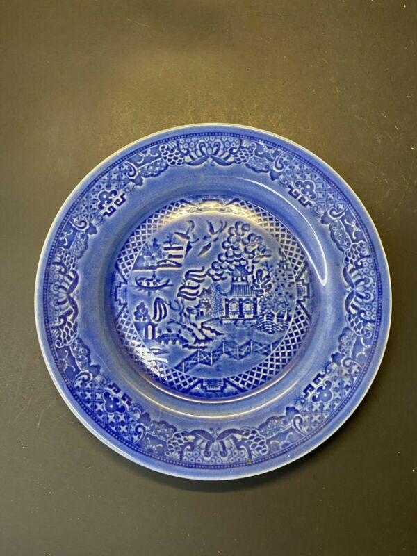"Vintage RARE Paden City Pottery Blue Willow 7.5"" Pottery China Dinner Plate"