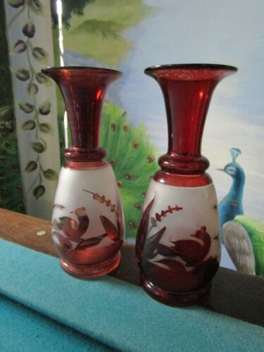 """Antique Cranberry Red Hand Blown 7"""" PAIR OF BOHEMIAN VASES"""