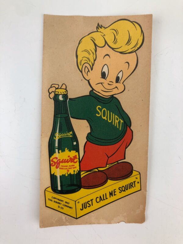 Antique SQUIRT BOY 1940s Soda Pop  Store Window Sticker Advertising Decal NICE