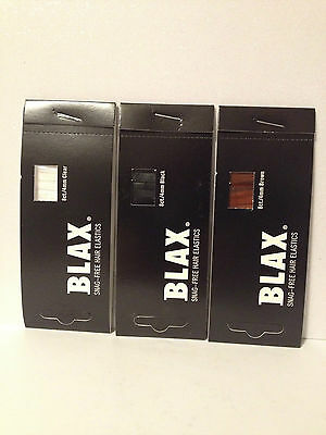 BLAX SNAG FREE HAIR ELASTICS PONYTAIL HOLDERS 4mm - CLEAR,BLACK,BROWN,PINK  Blax Hair Elastics