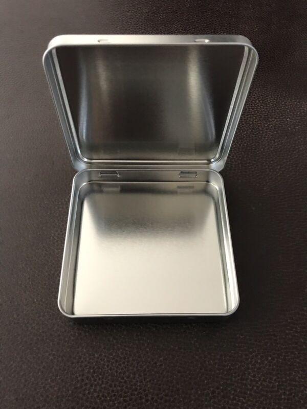 "Square Hinged Metal Tin Box 4"" by 4"""