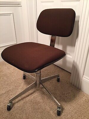 Steelcase Office Chair Executive Desk Brown Swivel Rolling Usa Mid Century Mod