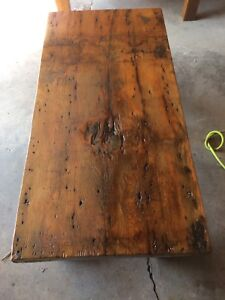 Two handmade antique coffee tables