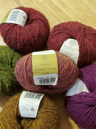 Rowan Scottish Tweed 4 Ply 100% Wool Various Complementary Colors Lot of 6