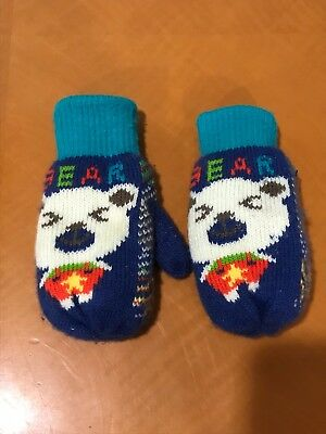 "Baby Boys Toddlers Unbranded Blue ""Bear"" Mittens Gloves Size 5/6"