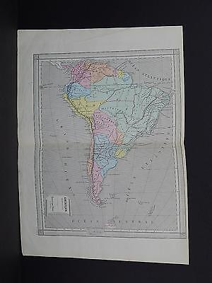 Antique Maps, French Atlas, c. 1870, Hand Color, Brazil, Peru, Patagonia S38