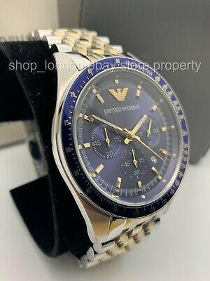 Emporio Armani AR6088 Navy Blue Dial Chronograph Silver Gold Tone Men's Watch US