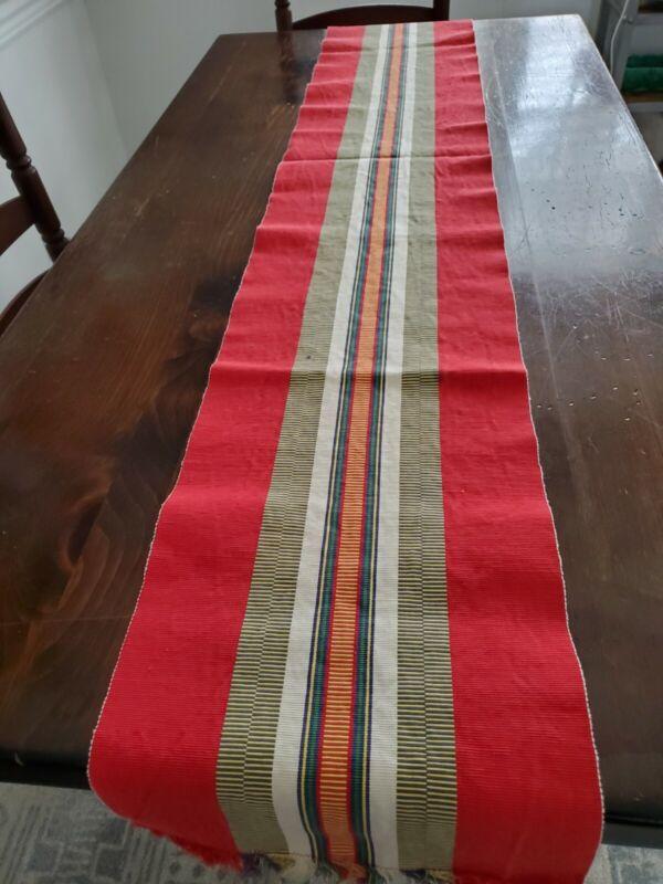 Vintage Hand Woven Table Runner Poland Red Striped Fringe