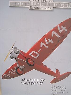 Bäumer B Iva Sausewind Propellerflugzeug Flugzeug Kartonbausatz NEU Bastelbogen