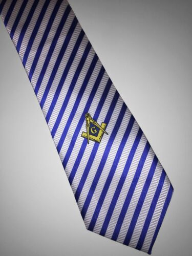 Masonic Woven Tie Stripes Blue Freemasons Square and compass Master Necktie Suit