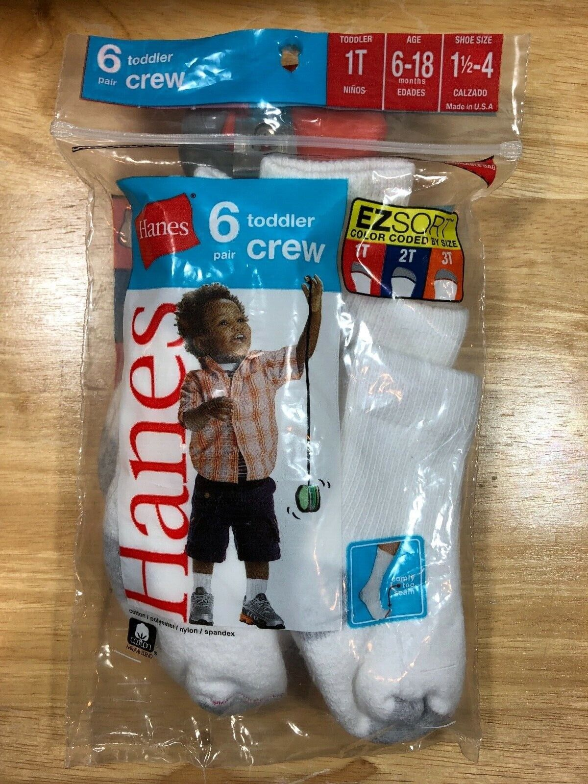 NEW HANES 6-18 MONTHS EZ SPORT 6 PAIRS CREW TODLER SHOE SIZE 1.5-4 WHITE US MADE Baby